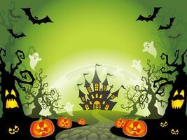 Glad Halloween landskap vektor illustration med ett textutrymme.