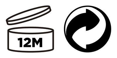 12M Zeitraum nach dem Öffnen, PAO-Symbol und Green Point-Symbol für Kosmetikverpackungen.