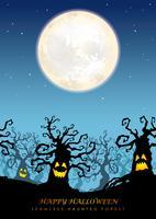 Glad Halloween sömlös spökad skog med textutrymme. vektor