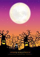 Glad Halloween sömlös spökad skog med textutrymme vektor
