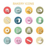 Bäckerei lange Schatten Symbole