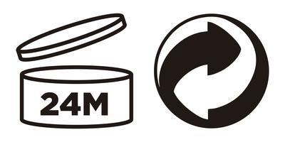 24M Zeitraum nach dem Öffnen, PAO-Symbol und Green Point-Symbol für Kosmetikverpackungen.