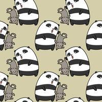 Sömlös panda fångar kattmönster.