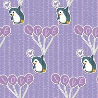 Sömlös pingvin håller ballongmönster.