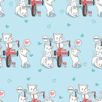 Sömlösa kawaii katter med trehjuling mönster. vektor