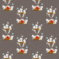 Sömlösa kawaii-katter och timglasmönster