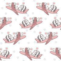 Nahtlose süße Pandas und Katzen und im Flugzeug Muster