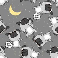 Sömlös Pug hund är sovmönster. vektor