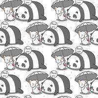 Nahtlose Katze kümmert sich Pandamuster. vektor