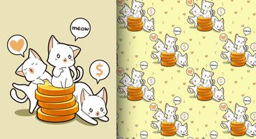 Nahtlose kawaii Katzen mit einem goldenen Münzenmuster vektor