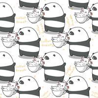 Sömlös panda och katt i tid för att slappna av mönstret.