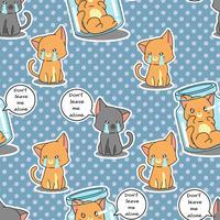 Sömlösa katter är ledsna mönster. vektor