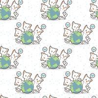Sömlösa 3 kawaii-katter älskar världsmönstret vektor