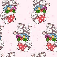 Nahtlose kawaii glückliche Pandas ist in einem Sockenmuster vektor
