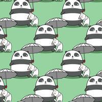 Sömlös panda som bär paraply med ett kattmönster. vektor