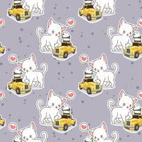 Nahtlose kawaii Katze mit kleinem gelbem Automuster vektor