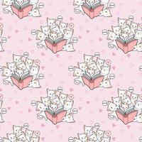 Sömlösa kawaii-katter älskar ett bokmönster vektor