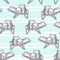 Nahtloser Panda und Katzen auf dem Wiegenmuster.