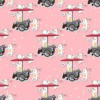 Sömlösa kawaii-katter och bärbart stallmönster vektor