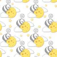 Nahtloser kawaii Panda umarmt das Mondmuster.