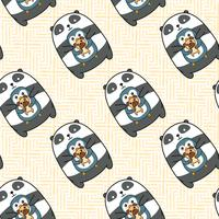 Sömlös panda pingvin och hundmönster. vektor