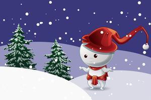 Schneemanncharakter mit rotem Hut im Weihnachtsfest auf Schnee mit Baumhintergrund.