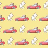 Nahtlose gezeichnete kawaii Katze schleppt ein rosa Sportwagenmuster. vektor