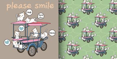 Nahtloses kawaii Katzen- und Frachtfahrzeugmuster