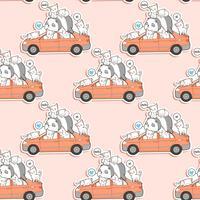 Sömlösa söta katter och panda med bilmönster.