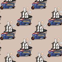 Sömlösa kawaii pandaer och katter med trasig motorcykelmönster vektor