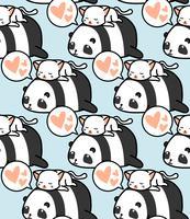 Sömlös panda och kattmönster.