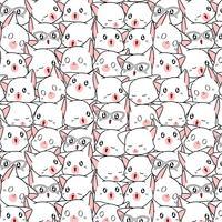 Nahtlos viele weiße Katze Muster.