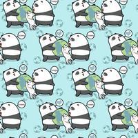 Seamless kawaii pandaer och katt älskar världsmönstret vektor