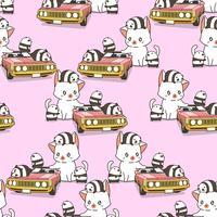 Sömlös jätte katt och små pandor med rosa bilmönster