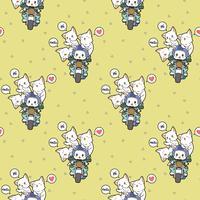 Seamless kawaii rider katt och vänner mönster vektor