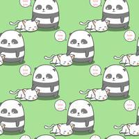 Seamless panda älskar kattmönster. vektor