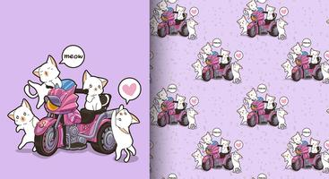 Sömlösa kawaii-katter och motorcykelmönster vektor