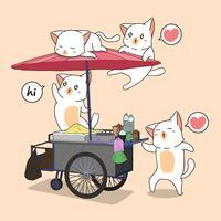 Kawaii-katter och bärbar bås vektor