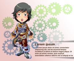 Steampunk karaktär i tecknad stil.
