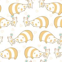 Nahtlose Katze klemmt Pandamuster. vektor