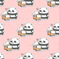 Nahtloser netter Panda und Katze, die auf dem Busmuster ist vektor