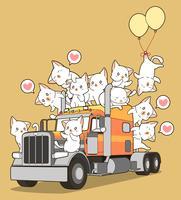 Söt katter på lastbilen i tecknadstil.