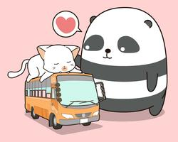 Netter Panda und Katze, die im Bus ist