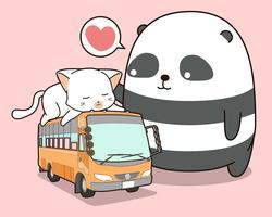 Söt panda och katt som är på bussen