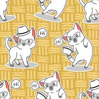 Seamless gullig katt säger hej mönster.