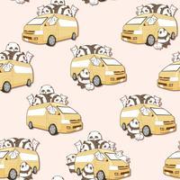 Sömlösa söta katter och panda och vanmönster.