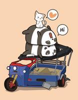 Kawaii pandor och katter med trasig motorcykel vektor