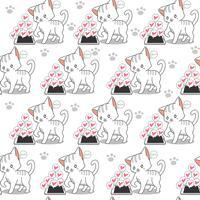 Sömlös liten katt och mobiltelefon mönster. vektor
