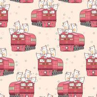 Nahtloses kawaii Muster der Katze im Zug