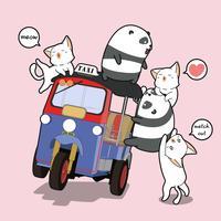 Kawaii pandaer och katter med motorcykel vektor